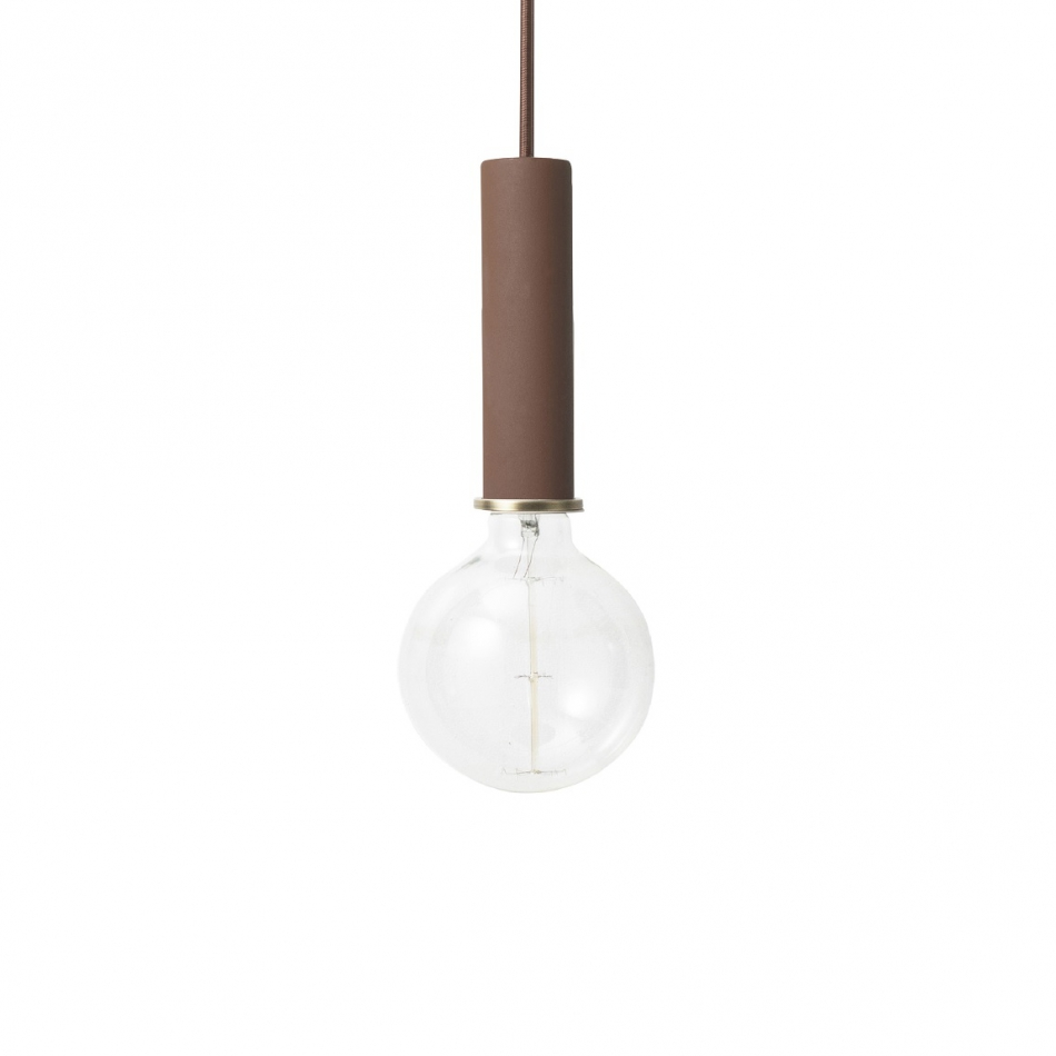 FERM LIVING Hängeleuchte Socket high red brown