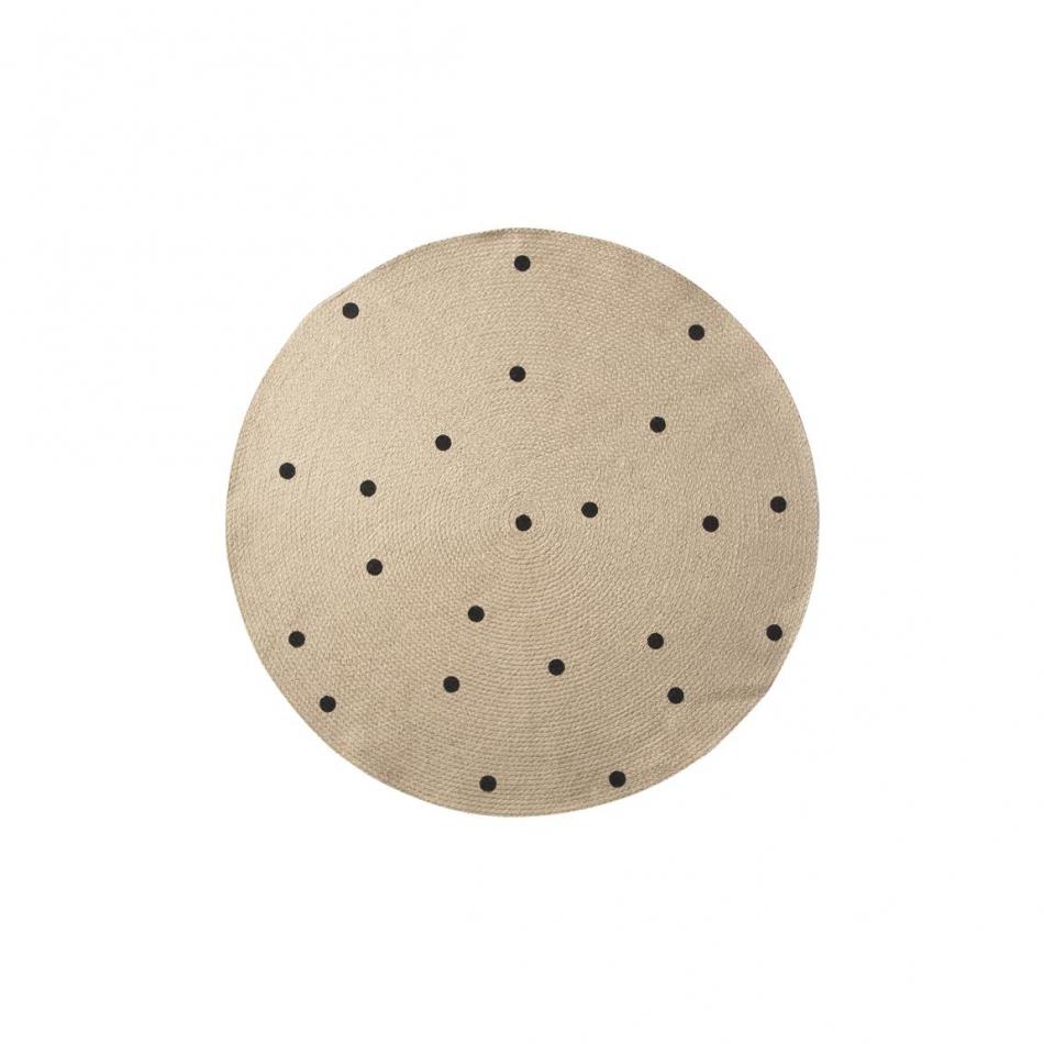 ferm living kids jute teppich dots black. Black Bedroom Furniture Sets. Home Design Ideas