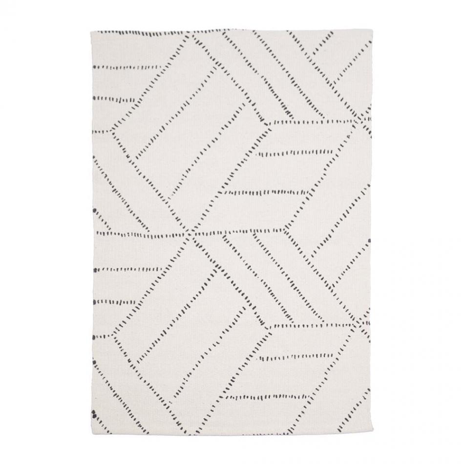 Baumwollteppich weiß  Teppich Kievari white/black 60x90 cm