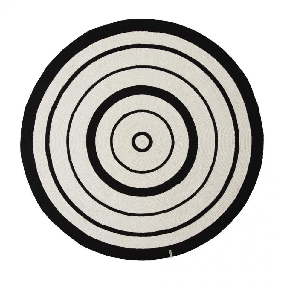 Teppich rund schwarz weiß