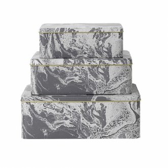 FERM LIVING Metalldosen Marble 3er Set