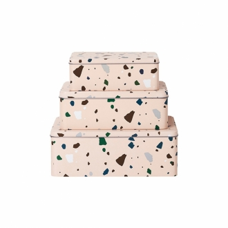 FERM LIVING Metalldosen Terrazzo rose 3er Set