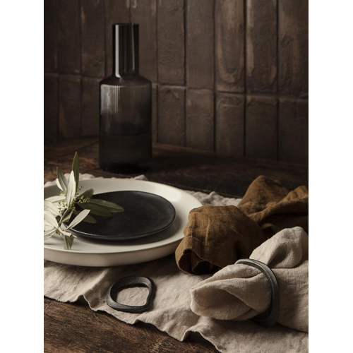 FERM LIVING Flow Serviettenringe black brass 4er Set
